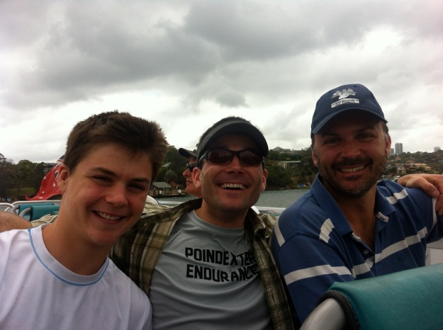 My nephew Morgan on the left, my brother Bob on the right- Sydney Harbor, January 2013.