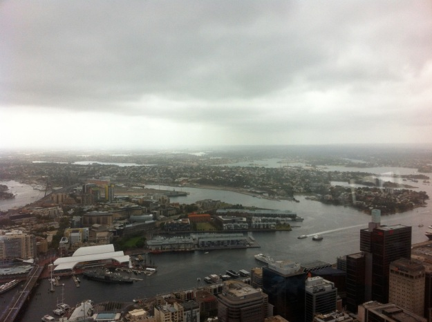 Top down view of the harbor from Sydney Tower.