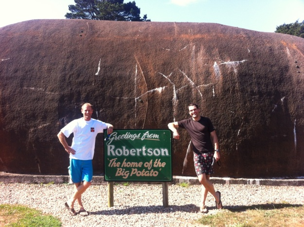 Rural towns are eager to have something to be proud of.  In Robertson, that's a giant concrete potatoe...