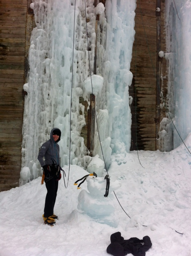 Getting our fix at the Teton Ice Park.