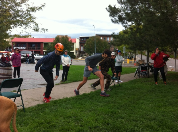 Todd (in helmet) sprints for the opening clues.