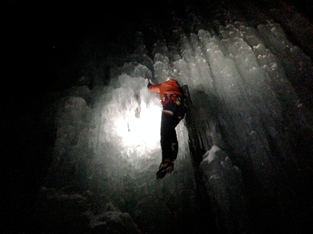 night ice climbing