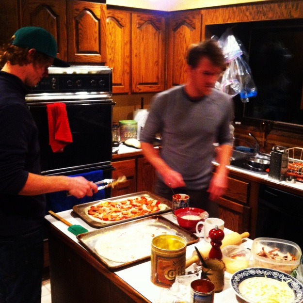 Part 2- home-made pizza factory. Simon and Paul get after it.