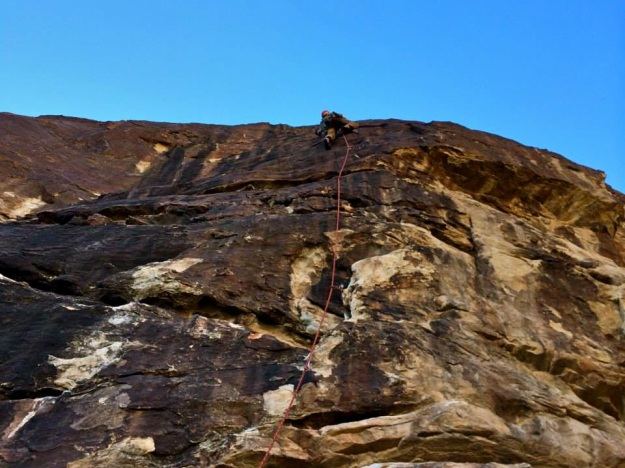 The only limits are the ones in your own mind. Climbing with a steady head on Sheep Trail. John Bachar 5.10a.