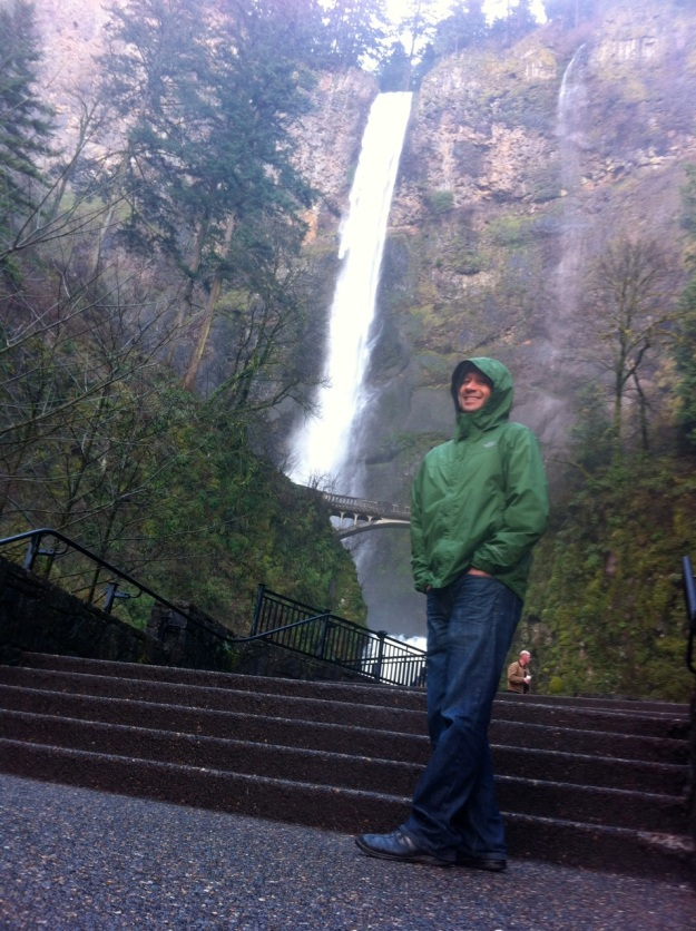 Mark at Multnomah Falls. The spring runoff is big.