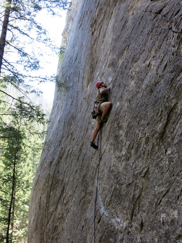 learning to go up. the canon, 5.11c, rattler gulch, mt.