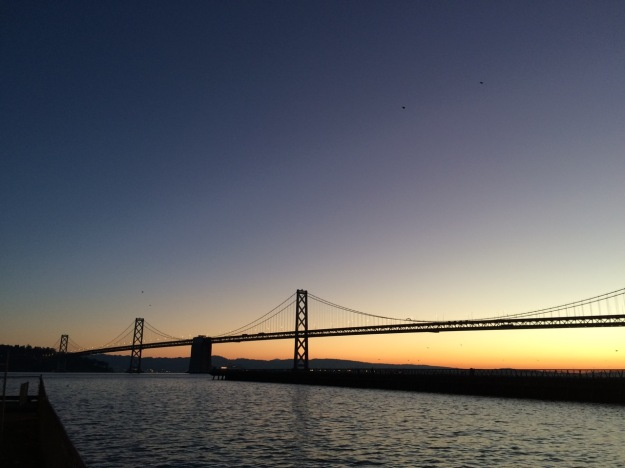 The first sunrise of 2015. SF Bay Bridge, California
