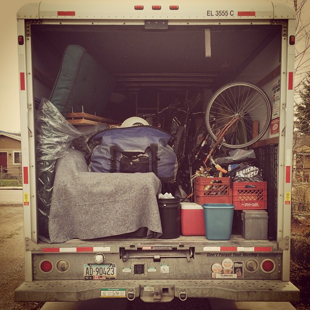 Uhaul truck, loaded truck, moving truck,