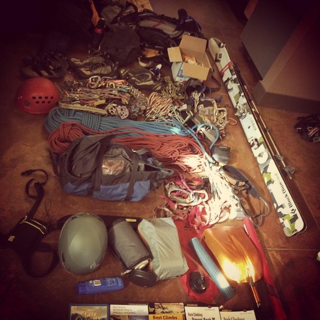 backcountry ski gear, trad climbing, climbing gear, shovel beacon probe,