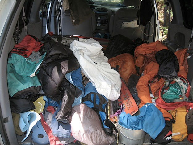 dirtbag van, messy climbing gear