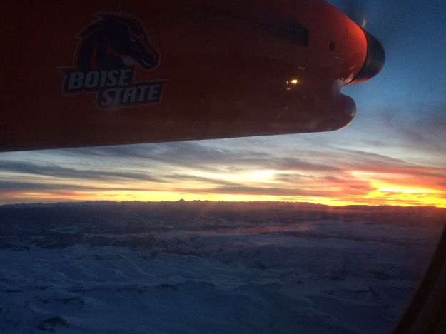 sunset, BoiseState plane