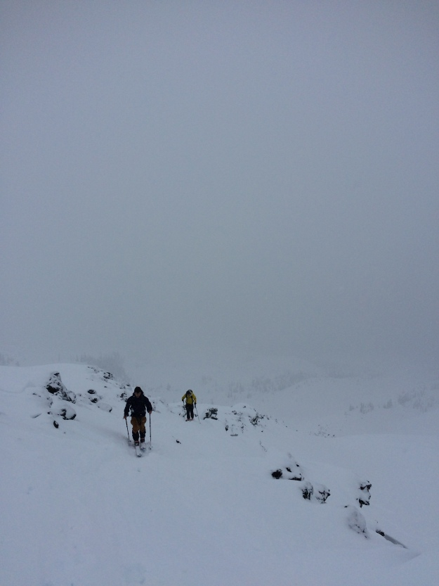 mt st helens, skinning, backcountry skiing, whiteout